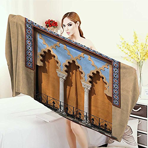 Anhounine Bath Pool Shower Towel for Kids Arabian Decor Collection Old Windows in Arabian Style at Cordoba Spain Background Balconies Cityscape Bathroom Towels 63''x31.5'' Ivory Blue by Anhounine