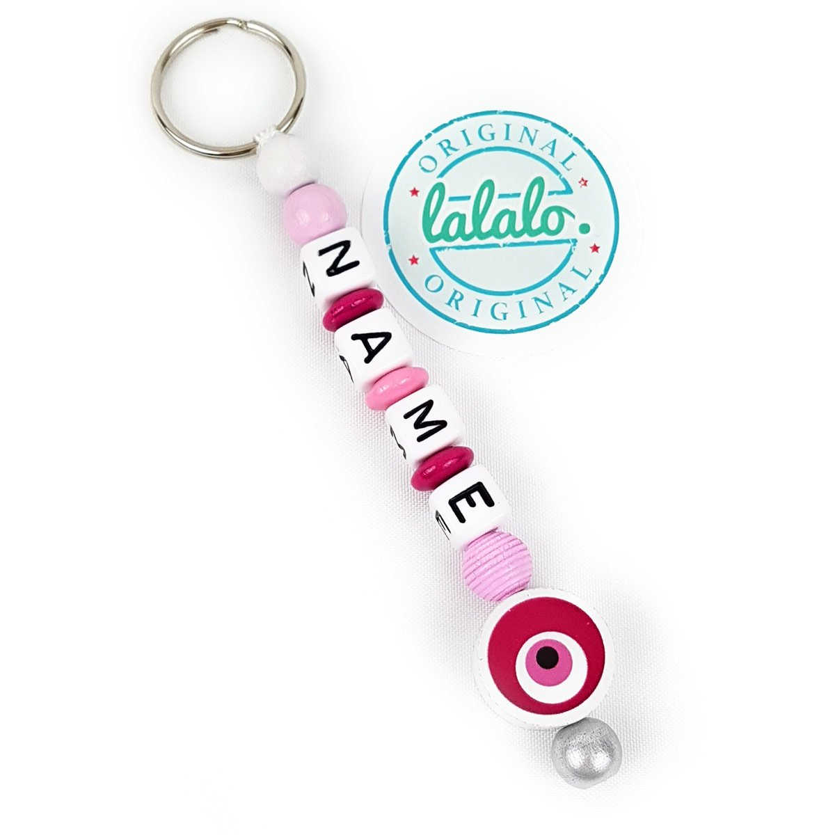 Evil Eye Eye Name Necklace/Gift Tag with Pink   Baby & Child Trailer for Diaper Bag, Nursery or School Bag LALALO LO.400.11