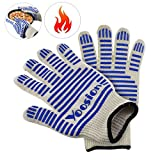 Heat Proof Gloves | Yoosion BBQ Gloves Heat Resistant Gloves 662℉ Silicone Food Grade Fireproof Gloves Anti Slip Grip Barbecue Gloves Fire Retardant for Oven Baking, Camping, Smoking, Fireplace Blue