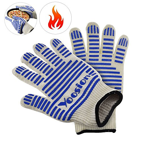 Heat Proof Gloves | Yoosion BBQ Gloves Heat Resistant Gloves 662℉ Silicone Food Grade Fireproof Gloves Anti Slip Grip Barbecue Gloves Fire Retardant for Oven Baking, Camping, Smoking, Fireplace Blue by Yoosion