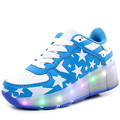 Roller Kids Skates Aimoge Shoes Unisex Flashing Led Single Bwq1tp