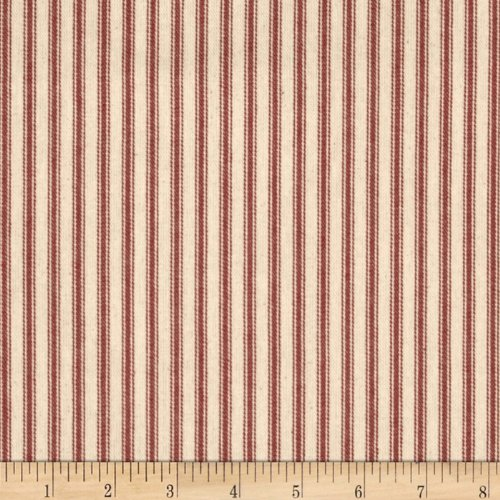 44in Ticking Stripe Red Fabric By The Yard