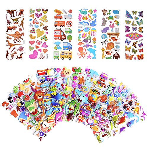 SWARKOL Kids Stickers 500+, 20 Different Sheets, 3D Puffy Stickers for Kids & Toddlers, Bulk Stickers for Girl Boy Birthday Gift, Scrapbooking, Teachers, Including Animals, Dinosaurs, Hearts and More