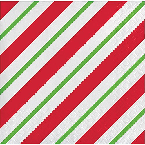 Creative Converting 16-Count Beverage Paper Napkins, Peppermint Party