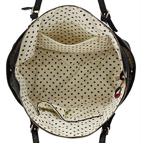 LEESUN LONDON - Bolsa mujer, color beige, talla L Negro/Blanco Bolso
