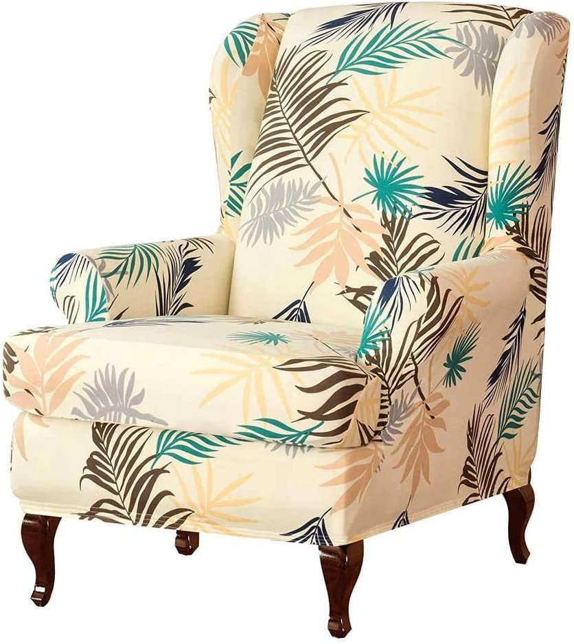 SINKITA Armchair Chair,Stretch Wingback Chair Covers Furniture Protector Couch Soft with Elastic Bottom,Spandex Jacquard Fabric Wing Chair Slipcover-Cream color-2Piece