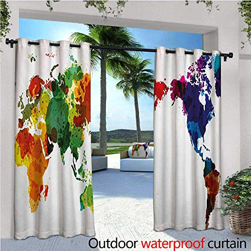 Silk Peace Inspired Top (homehot Colorful Outdoor Blackout Curtains Rainbow Colored Wold Map Grunge Style Abstract Global Universal Peace Inspired Art Outdoor Privacy Porch Curtains W84 x L108 Multicolor)