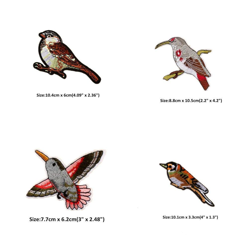 Colección de parches con diseños de pájaros bordados, de aplicación ...