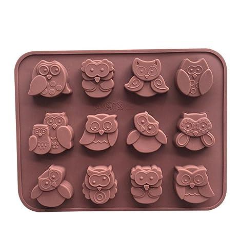 wunhope moldes para dulces y Chocolate 12 silicona Ice DIY búhos de Expression múltiples Mingon molde