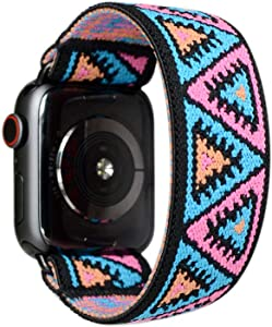 Tefeca Elastic Compatible/Replacement Band for Apple Watch (Aztec Triangle, M fits Wrist Size : 6.5-7.0 inch, 38/40mm)