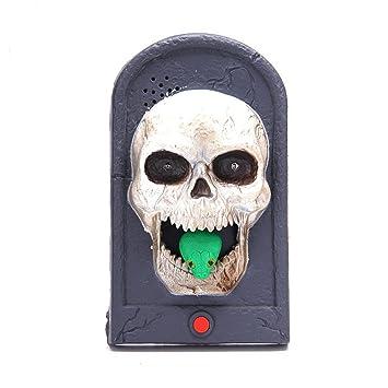 halloween skull doorbell light up eyeball talking scary sounds for party bar door decorations kids gift - Halloween Skull Decorations