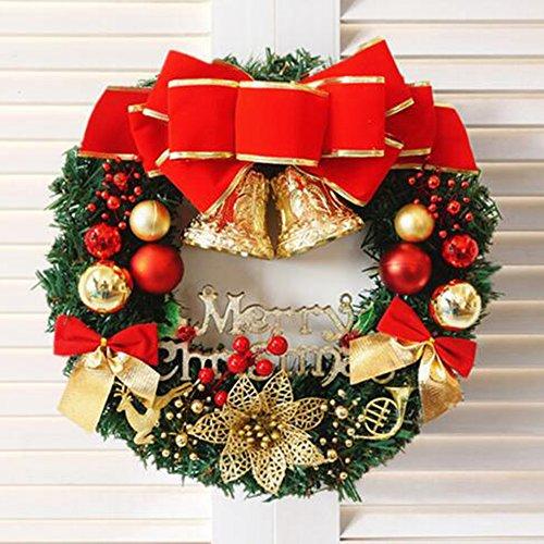 Saflyse 35cm Weihnachtsdeko Weihnachtskranz Adventskranz Türkranz Kranz mit Kugeln, Blumen etc.