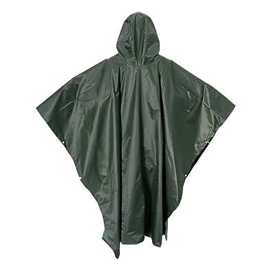 e7e6e3674f8094 Gazechimp Regenponcho wasserdicht Regenmantel Groß Erwachsener Regencape  als Outdoor Abdeckplane Matte - Armeegrün, Groß
