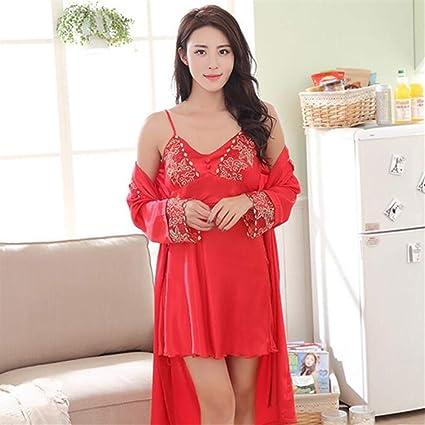 SUxian - Vestidos Festivos 2pcs Mujeres de la Novia Batas de Dormir camisón Pijama Albornoz con