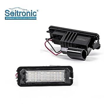 Iluminación led para matrícula del vehículo, de alta calidad, 2 módulos que se adaptan al vehículo, luz muy clara con certificación europea: Amazon.es: ...