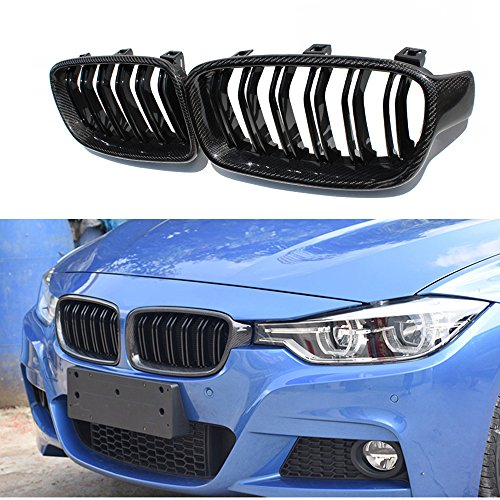 (F30 carbon grille 2 pcs carbon fiber M3 style front grill for BMW 3 series F30 F31 2012+ 318I 320I)