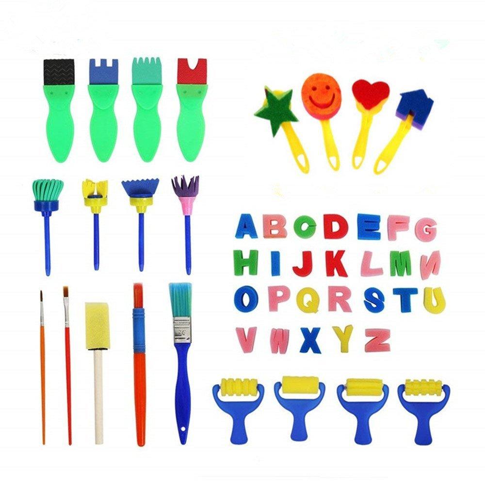 Spugne per Pittura,47 Pack Pennelli da Pittura Spugna Rutilizzabili Strumenti Pittura Bambini per Arti Decorative Fai Da Te, Colori Assortiti e Forme Febbya