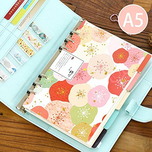 Chris-Wang ELegant Colorful Fresh Style Category Page Day Planner Divider Index Page Tab Cards Notebook Accessories, Match for A5 6-Holes Ring Binders/School Stationery, 5 Sheets/Set