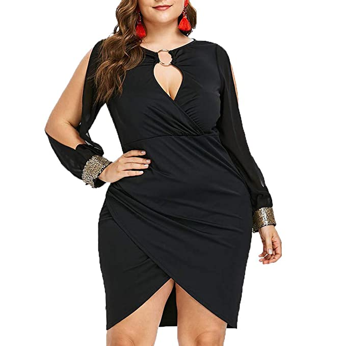 dccaa8e0da HOOUDO Women Dress Party Elegant Plus Size Casual Long Sleeve Sequin Hollow  Out Keyhole Neck Ring Slit Bodycon Dresses for Women: Amazon.co.uk: Clothing