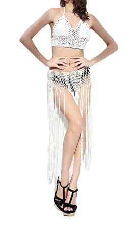 Faldas Mujer Faldas Largas Verano Playa Tejer con Tassel Hippies ...