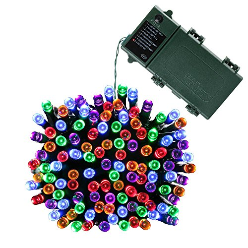 Joomer 200 LED String Battery Christmas Lights (Multi-Color), 200led-Multicolor