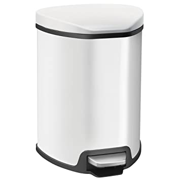 EKO 92091 1 Grace 1.25 Gallon White Steel Step Trash Can With Lid | 5