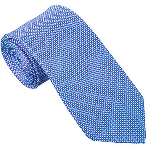 Sebastien Grey Men's 7-Fold Silk Tie (Lavender Aqua Tic-Tac-Toe) -