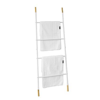 SoBuy FRG264-WN Toallero escalera para apoyar en la pared, Práctico colgador de toallas