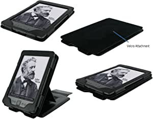 rooCASE Multiple View (Black) Leather Folio Case Cover with 19 Adjustable Stand for Amazon Kindle Paperwhite and Kindle 4 6-Inch Wi-Fi