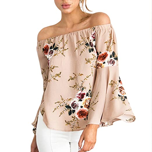 Image Unavailable. Image not available for. Color  XWDA Women s Off Shoulder  Tops Long Sleeve Blouse Loose Casual Floral Shirt 1ef9452bc