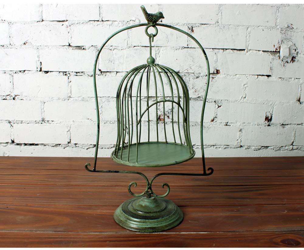 LWT ヨーロッパの錬鉄の床のテーブルデコレーション鳥かごの窓装飾結婚式の小道具多肉植物の花の棚の金属 (色 : Green old) B07RW2CZTQ Green old