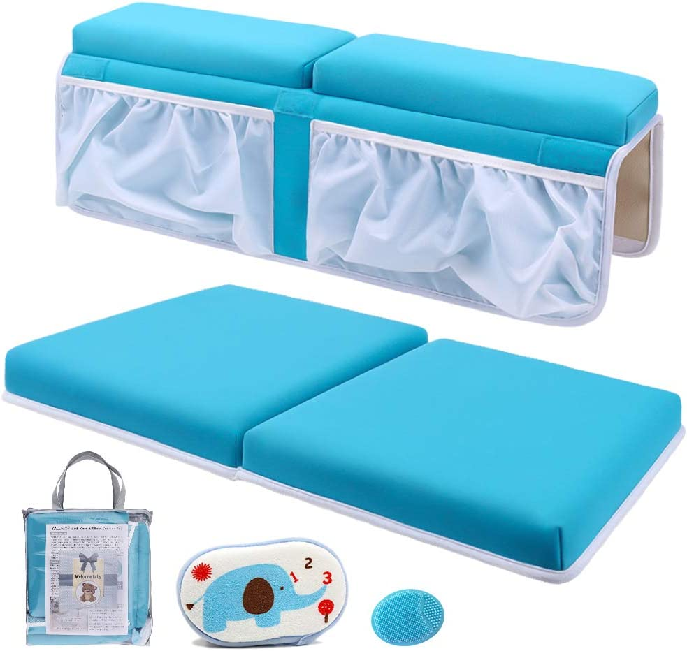 Blue Bath Kneeler and Elbow Rest Thick Cushioned Bath Kneeling Pad with Non-Slip Rubber Base Quick Drying Bath Kneeler Mat with 6 Strong Suction Cups and 4 Storage Pockets for Baby Bath Time