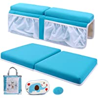 Bath Kneeler and Elbow Rest Set Thick Baby Bath Kneeling Pad Bathing Kneeling Mat Cushion Washable Padded Bathtub Knee Saver with Arm Support and Pockets Organizer for Bathroom Bathtime Comfort, Blue