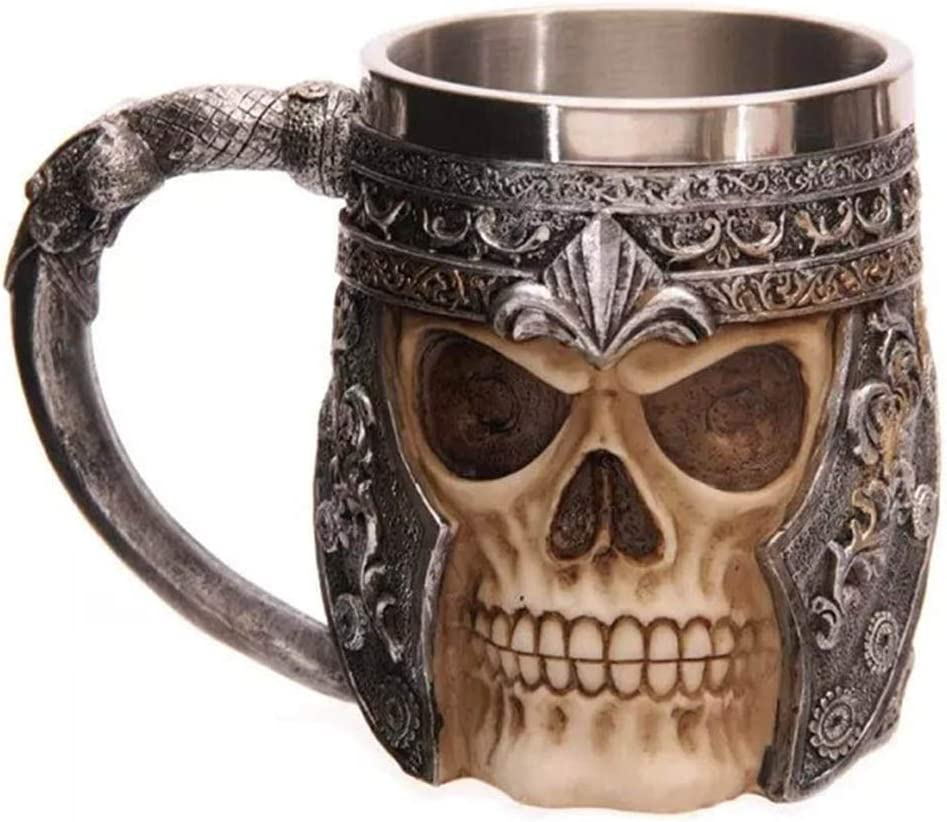 Stainless Steel Viking Skull Mug Ram Horned Pit Lord Warrior Beer Stein Tankard