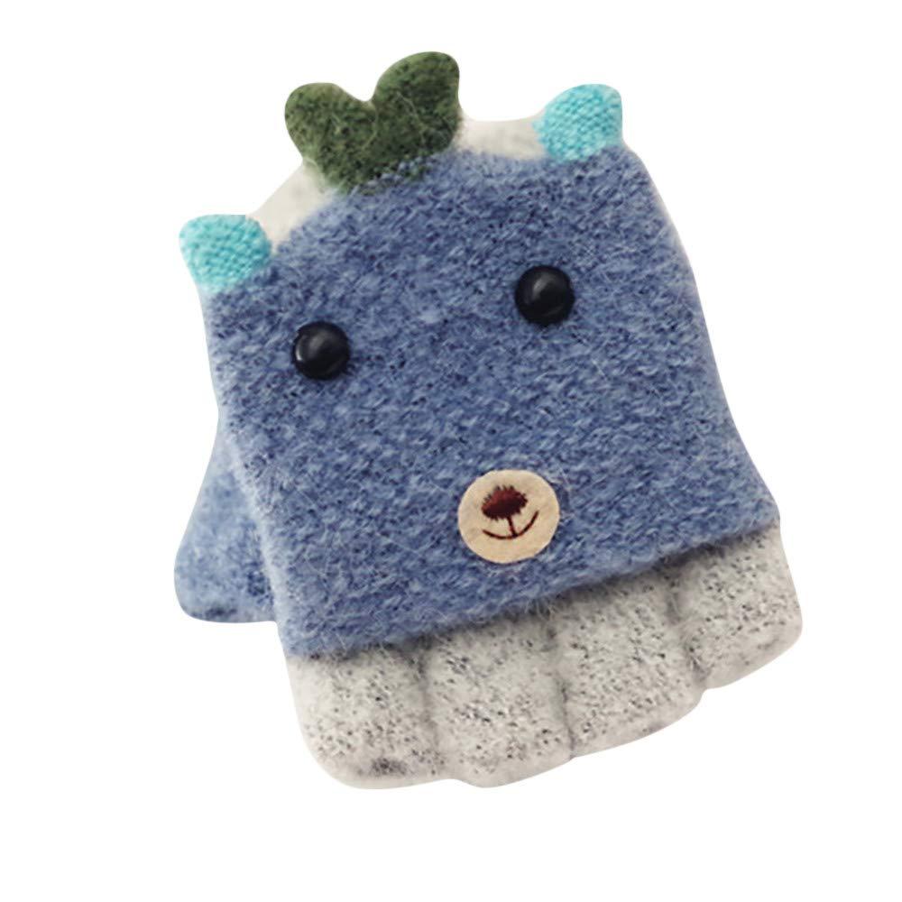 Winter Gloves,Flip Half Finger Children Gloves Winter Thicken Warm Chrismas Xmas Gift by Clement