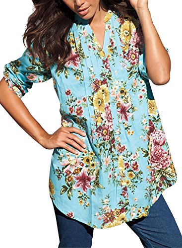 Dokotoo Womens 3 4 Sleeve Floral Print Button Front Casual Blouses and Tops