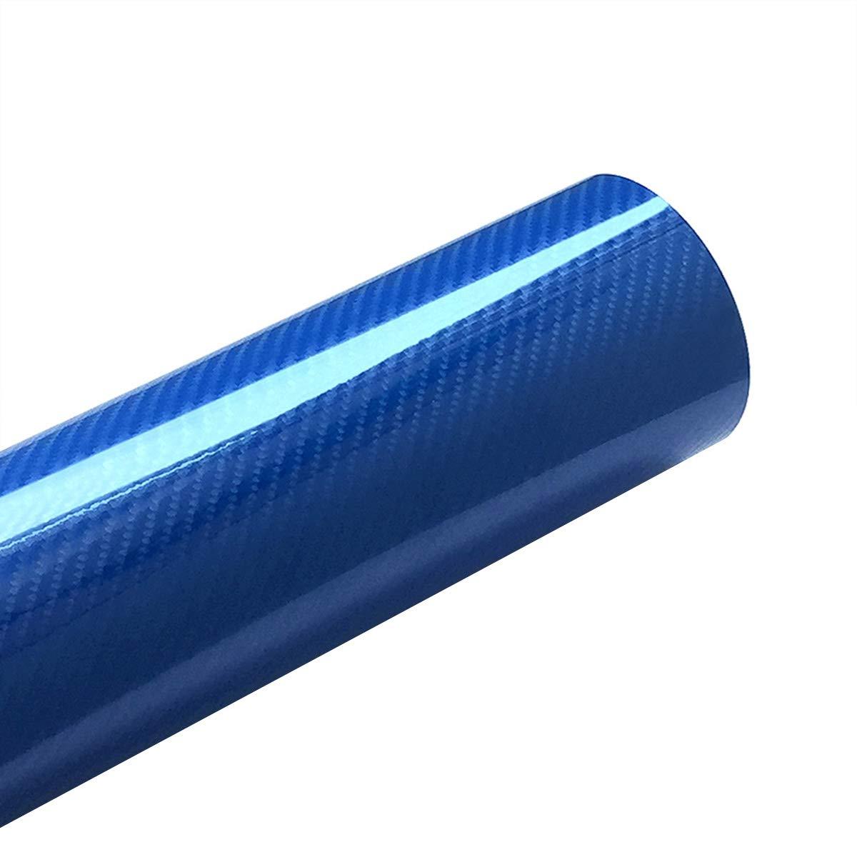 Blu LKXHarleya 30x100cm 5D Alta Lucido in Fibra di Carbonio Pellicola Avvolgente in Vinile con Bolla dAria Libera per La Decorazione Interna dellautomobile
