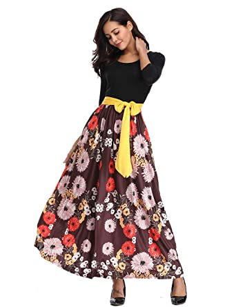 306a434f7558 Womens Striped Floral Maxi Dress with Pockets Empire Waist 3/4 Sleeve Tie  Waist Floor