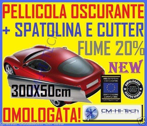 Pellicola oscurante 20% per vetri auto tuning 300x50 in rotolo a norma omologata Pellicole vetro D-Gear Evo - Passaggio luce 20%