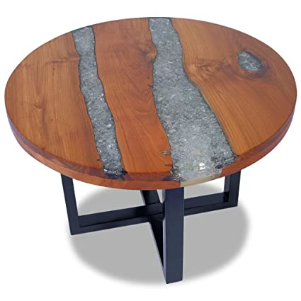 Festnight Round Coffee Table Teak Wood Resin End Side Table Pure Handmade  For Home Office Living