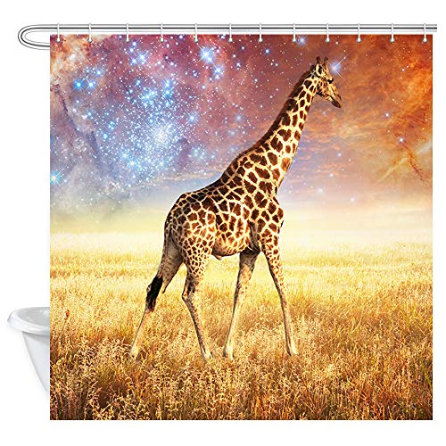 Wild Animals Polyester Shower Curtain - JAWO Giraffe Shower Curtain for Bathroom, Wild Animals on Autumn African Grassland Safari Profession Waterproof Polyester Fabric Boys Bath Curtains Decor with 12PCS Hooks 69X70 Inches