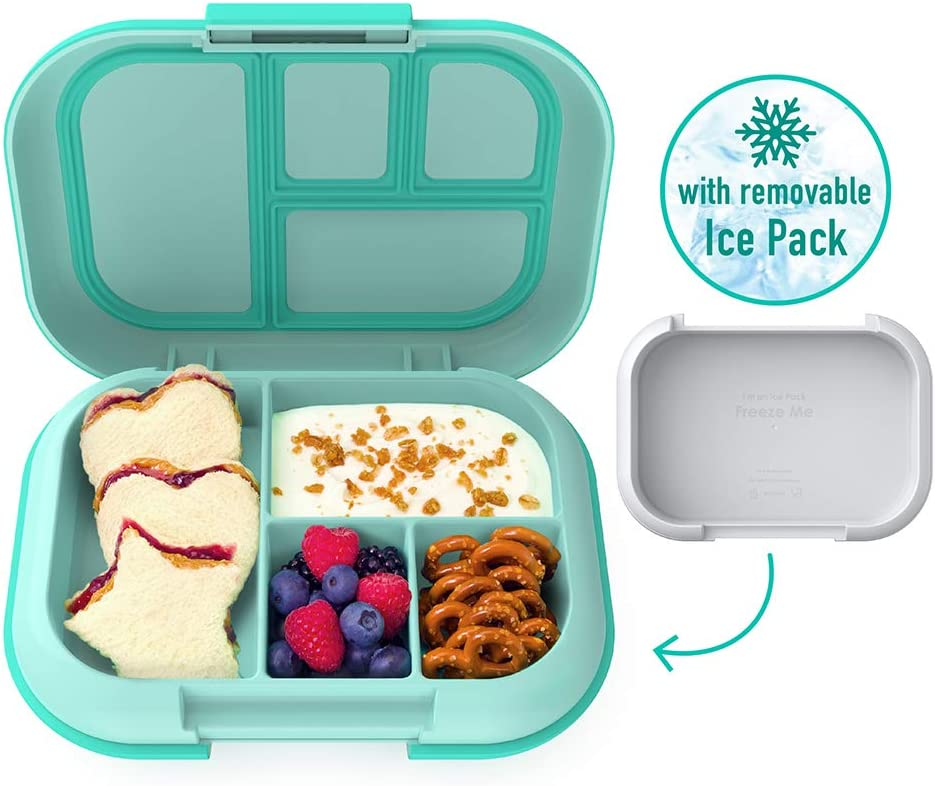 Bentgo Kids Chill Lunch Box - Bento-Style Lunch Solution with 4 Compartments and Removable Ice Pack for Meals and Snacks On-the-Go - Leak-Proof, Dishwasher Safe, BPA-Free (Aqua)