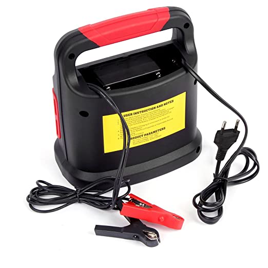 Dazone batería Cargador auto y moto, automático Cargador Coche (para baterías de coche de 20 – 200 Ah, tensión de carga 12 V/24 V, Progreso indicador ...