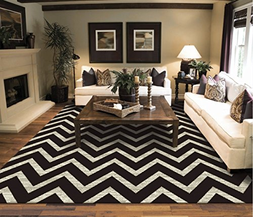 Large Chevron Pattern Rugs For Living Room Black Cream 8x11 Wavy 8x10  Modern Rugs Zig Zag Contemporary Rugs Zik Zak Part 38