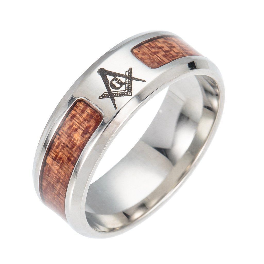Lilileo Jewelry Engagement Ring Masonic Logo Life Wood Inlay Wedding Band For Mens Rings Jewelryamazon: Masonic Wedding Band Anium Ring At Reisefeber.org