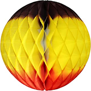 product image for 3-Pack 12 Inch Honeycomb Tissue Paper Ball Decoration (Brown/Yellow/Orange)