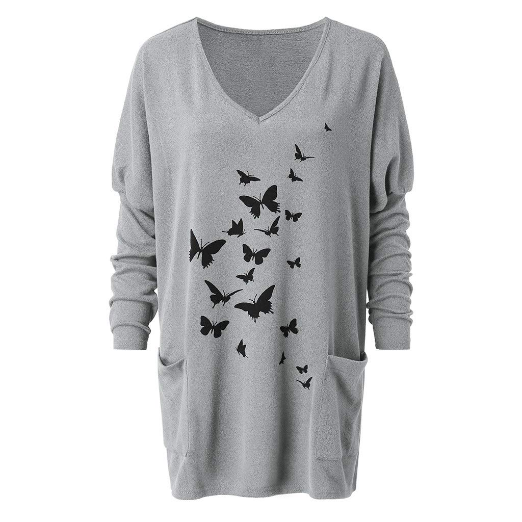 Lazapa T-Shirt Dress for Women Butterfly Print Pocket Jumper Tops V-Neck Bat Sleeve Large Size Loose Casual Blouse Tops