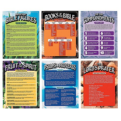 6pc Set of Bible Learning Educational Posters for Children