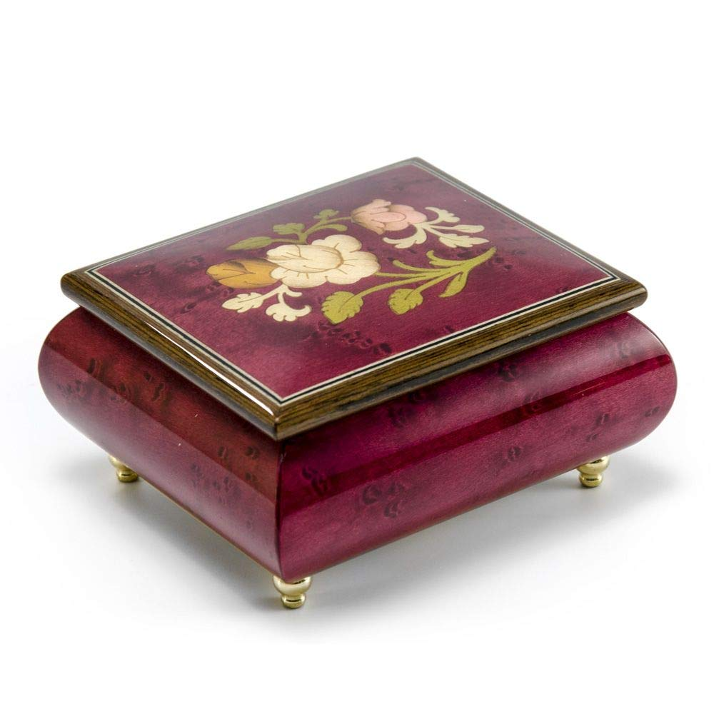 Radiant Red Wine Music Jewelry Box with a Floral Wood Inlay Design - Happy Birthday