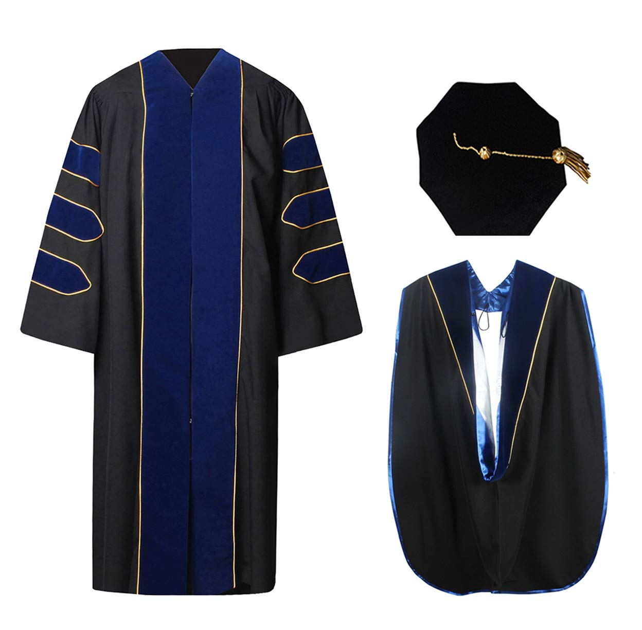 Deluxe Doctoral Graduation Gown Hood and 8-Sided Tam Package Royal White